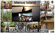 photo collage of people in different places on Manus, building, eating, studying, walking,  as well as new Buddhist retreat center - CLICK TO ENLARGE PHOTO