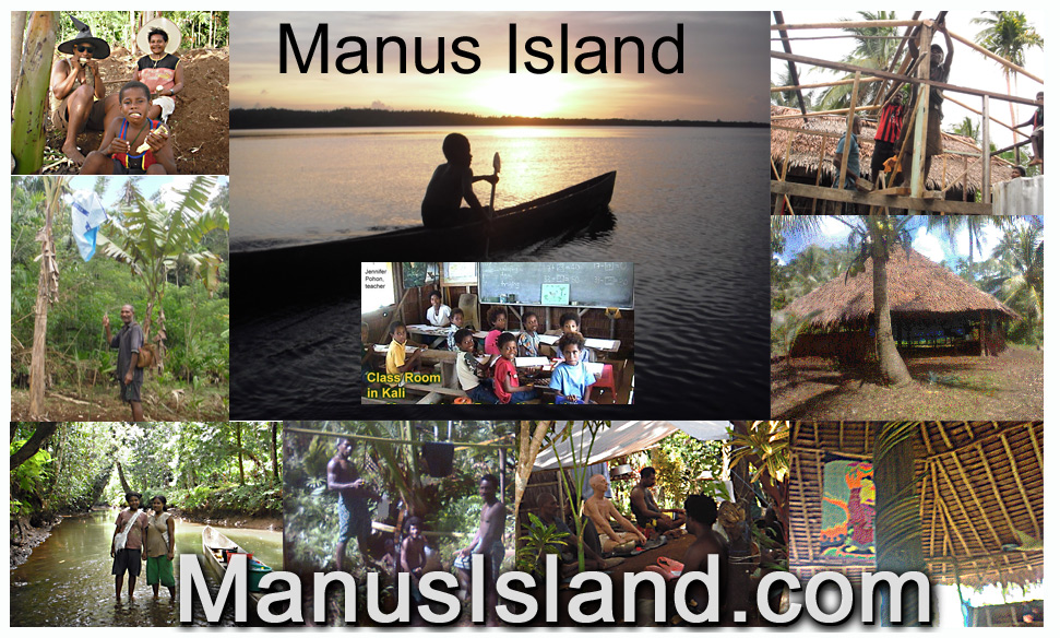 photo collage of people in different places on Manus, as well as new Buddhist retreat center