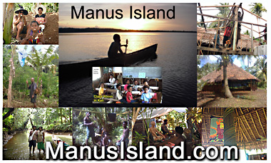 photo collage of Manus men and women in different locations including Buddist retreat near Kali